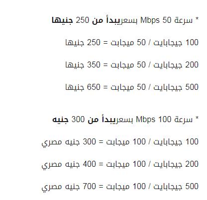 أسعار الانترنت الجديدة من te data المصرية للاتصالات